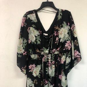 LACE UP FRONT CHIFFON FLORAL DRESS